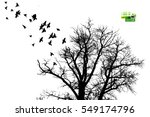 tree silhouette with flying... | Shutterstock .eps vector #549174796