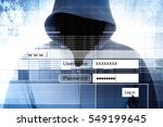 hacker with log on screen... | Shutterstock . vector #549199645