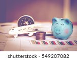happy piggy bank with coins... | Shutterstock . vector #549207082