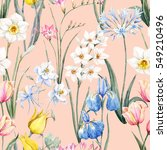 watercolor floral spring... | Shutterstock . vector #549210496