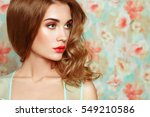 beautiful woman face. perfect... | Shutterstock . vector #549210586