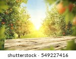 wooden table place of free... | Shutterstock . vector #549227416