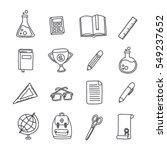 doodle icon set. school stuff.... | Shutterstock .eps vector #549237652