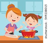 mother and daughter cooking... | Shutterstock .eps vector #549238015