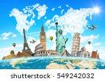 famous landmarks of the world... | Shutterstock . vector #549242032