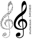 illustration of tow g clef and... | Shutterstock .eps vector #54924835