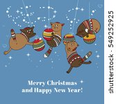 merry christmas card with... | Shutterstock .eps vector #549252925