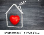 painted house with red heart on ... | Shutterstock . vector #549261412