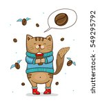 cute cat in blue sweater with... | Shutterstock .eps vector #549295792
