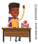 student raising hand in the... | Shutterstock .eps vector #549333472