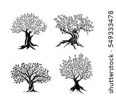 olive trees silhouette icon set ... | Shutterstock .eps vector #549333478