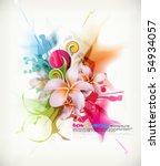 Stock vector eps vector realistic frangipani flower in multicolored ink splattered background 54934057