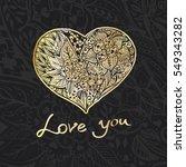 hand draw romantic gold heart... | Shutterstock . vector #549343282