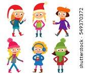 set of young teenage girls in... | Shutterstock .eps vector #549370372