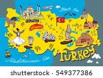 cartoon  map of turkey. travel... | Shutterstock .eps vector #549377386
