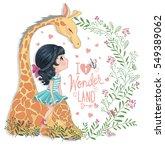 Stock vector cute cartoon girl and giraffe vector children illustration for school books and more t shirt 549389062