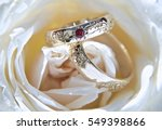 Wedding Rings  Gold With Red...