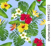 tropical flowers and leaves on...   Shutterstock .eps vector #549431272