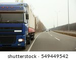truck on road. delivery and... | Shutterstock . vector #549449542