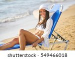 long haired girl in bikini on... | Shutterstock . vector #549466018