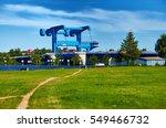 blue river bridge to isle of... | Shutterstock . vector #549466732