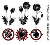 red poppies set. vector  | Shutterstock .eps vector #549469522