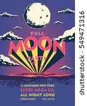 full moon beach party placard.... | Shutterstock .eps vector #549471316