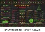 mexican food restaurant menu ... | Shutterstock .eps vector #549473626