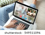 video call and chat concept.... | Shutterstock . vector #549511096