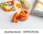 baby mashed with spoon in glass ... | Shutterstock . vector #549529156