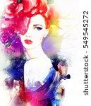 beautiful woman face. fashion... | Shutterstock . vector #549545272