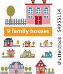 9 premium family houses. vector | Shutterstock .eps vector #54955114