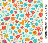 seamless doodle love pattern... | Shutterstock .eps vector #549578542