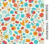 seamless doodle love pattern... | Shutterstock .eps vector #549578542