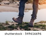 tourists hiking shoes standing... | Shutterstock . vector #549616696