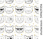 seamless pattern with cute cats ... | Shutterstock .eps vector #549629356
