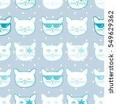 seamless pattern with cute cats ... | Shutterstock .eps vector #549629362
