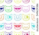 seamless pattern with cute cats ... | Shutterstock .eps vector #549629386