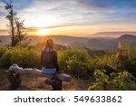 woman looking away   mountain...   Shutterstock . vector #549633862