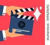 flat movie clapperboard symbol... | Shutterstock .eps vector #549635692