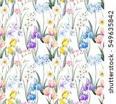 watercolor floral spring... | Shutterstock . vector #549635842