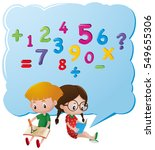 kids thinking about numbers | Shutterstock .eps vector #549655306