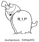 outlined ghost and grave stone | Shutterstock .eps vector #54966493