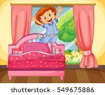 little girl jumping on the bed... | Shutterstock .eps vector #549675886
