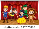 five kids in different costumes ... | Shutterstock .eps vector #549676096