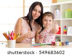 mother and child daughter... | Shutterstock . vector #549683602