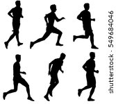 set of silhouettes runners on... | Shutterstock .eps vector #549684046