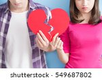 young couple take broken heart... | Shutterstock . vector #549687802