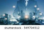 double exposure of success... | Shutterstock . vector #549704512