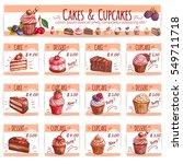 cake and cupcake bakery menu... | Shutterstock .eps vector #549711718